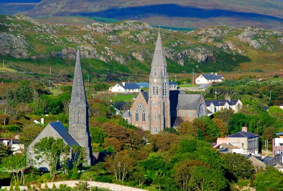 The church spires of Clifden